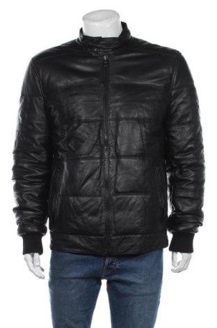 Мъжко кожено яке, Размер M, Цвят Черен, Естествена кожа, Цена 124,95лв.
