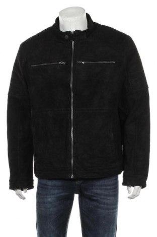 Мъжко кожено яке Angelo Litrico, Размер L, Цвят Черен, Естествен велур, Цена 92,40лв.