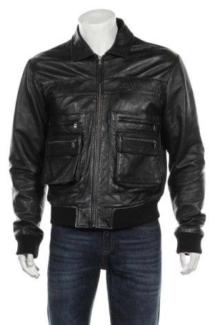Мъжко кожено яке Calvin Klein Jeans, Размер M, Цвят Черен, Естествена кожа, Цена 119,25лв.