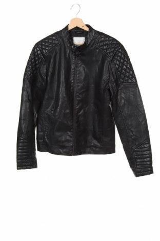 Мъжко кожено яке Core By Jack & Jones, Размер S, Цвят Черен, Еко кожа, Цена 75,60лв.