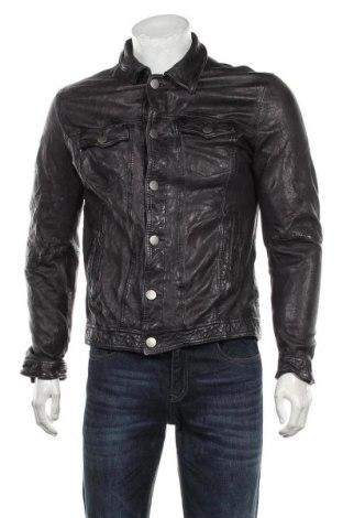 Мъжко кожено яке Freaky Nation, Размер M, Цвят Черен, Естествена кожа, Цена 130,20лв.