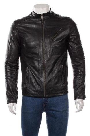 Pánská kožená bunda  Jack & Jones, Velikost M, Barva Černá, Pravá kůže, Cena  2152,00Kč