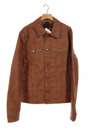 Мъжко кожено яке Kiomi, Размер S, Цвят Кафяв, Еко кожа, Цена 55,50лв.