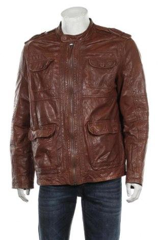 Мъжко кожено яке Pepe Jeans, Размер XL, Цвят Кафяв, Естествена кожа, Цена 166,95лв.