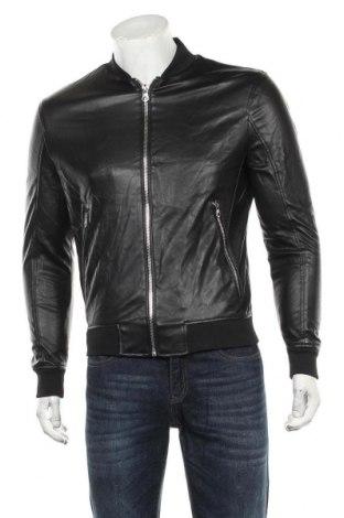Geacă de piele pentru bărbati Zara, Mărime S, Culoare Negru, Piele ecologică, Preț 205,58 Lei