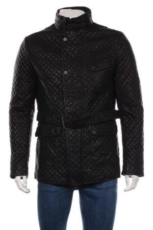 Мъжко кожено яке Zara Man, Размер XL, Цвят Черен, Еко кожа, Цена 67,20лв.