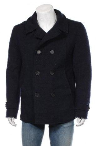 Palton de bărbați, Mărime L, Culoare Albastru, Poliester, lână, Preț 172,42 Lei