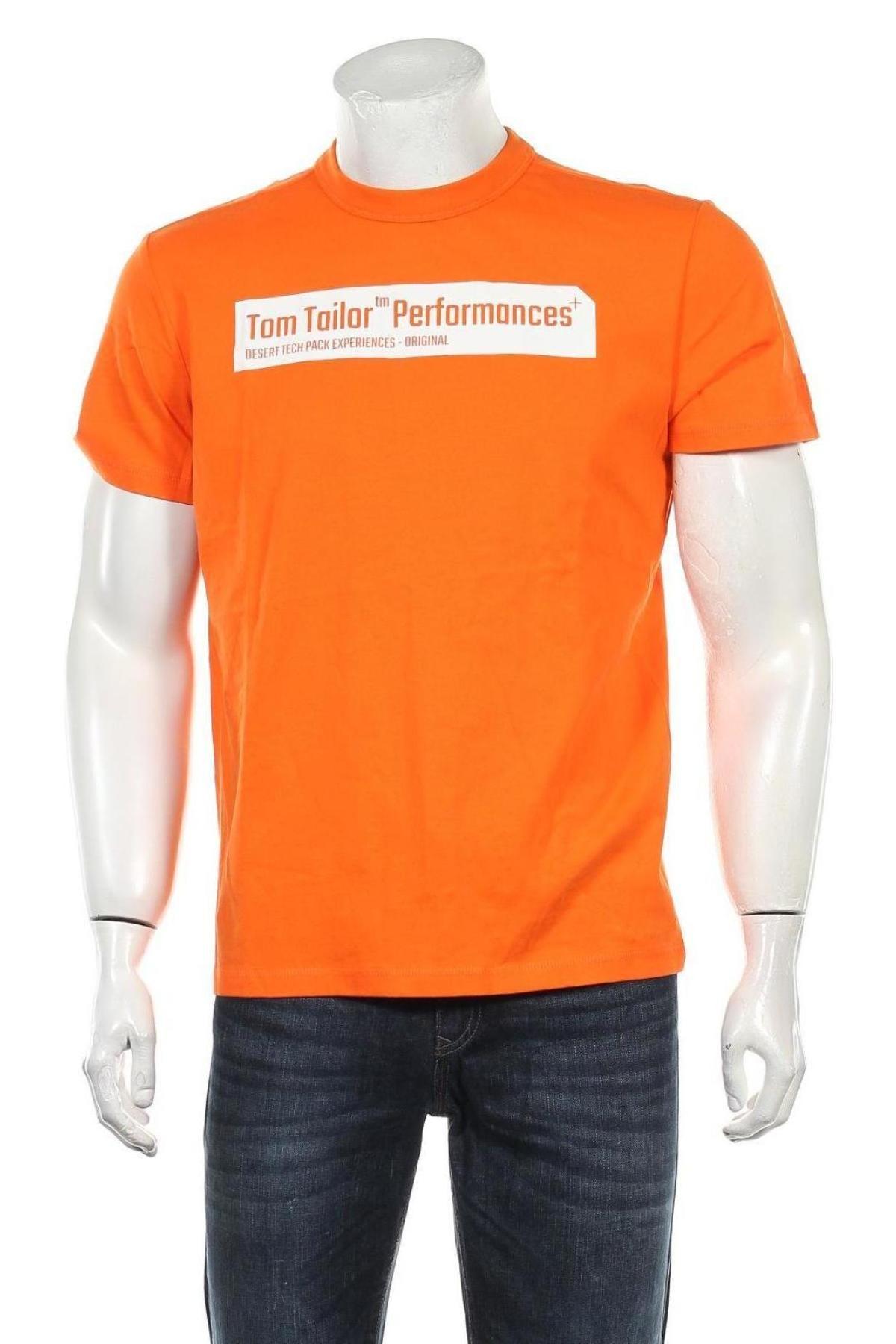 Мъжка тениска Tom Tailor, Размер M, Цвят Оранжев, Памук, Цена 24,36лв.
