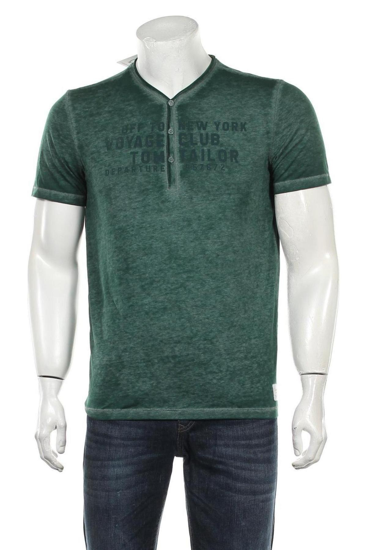 Мъжка тениска Tom Tailor, Размер S, Цвят Зелен, Цена 22,80лв.