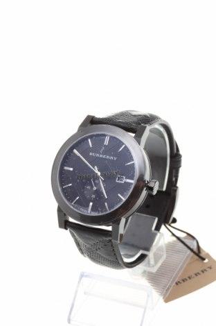 Часовник Burberry, Цвят Черен, Естествена кожа, метал, Цена 675,60лв.