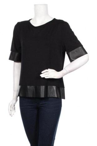 Дамска блуза Gianni Rodini, Размер M, Цвят Черен, Вискоза, еластан, еко кожа, Цена 9,36лв.