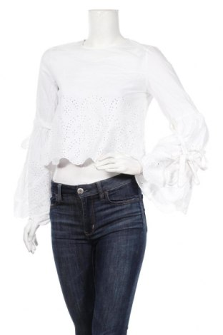 Дамска блуза Zara Trafaluc, Размер S, Цвят Бял, Памук, Цена 18,38лв.