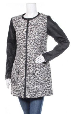 Дамско палто Andrea, Размер S, Цвят Черен, 53% вълна, 28% полиестер, 19% акрил, еко кожа, Цена 15,44лв.