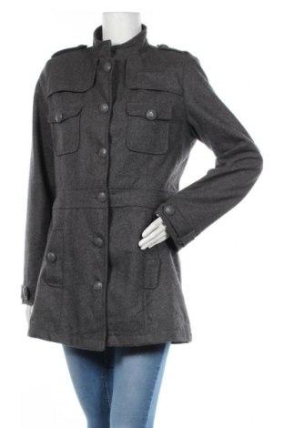 Дамско палто U Collection, Размер L, Цвят Сив, 50% вълна, 45% полиестер, 5% други материали, Цена 59,06лв.