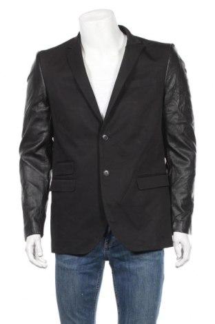 Мъжко сако Arthur Galan, Размер L, Цвят Черен, Памук, естествена кожа, Цена 33,60лв.