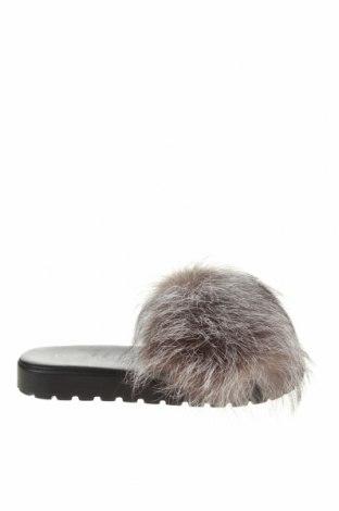 Papuci Eva Minge, Mărime 37, Culoare Gri, Piele naturală, blană naturală, Preț 194,90 Lei