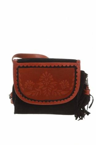 Дамска чанта Pieces, Цвят Черен, Естествен велур, естествена кожа, Цена 81,75лв.