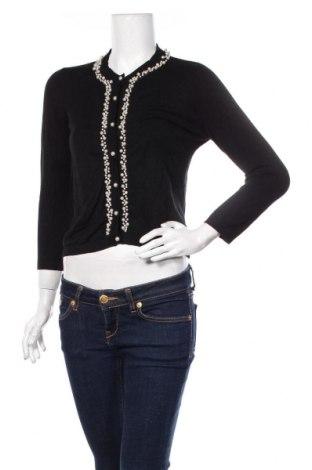 Дамска жилетка Zara Knitwear, Размер S, Цвят Черен, 82% вискоза, 16% полиамид, 2% еластан, Цена 51,75лв.