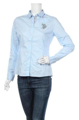 Дамска риза U.S. Polo Assn., Размер L, Цвят Син, 72% памук, 25% полиамид, 3% еластан, Цена 81,75лв.