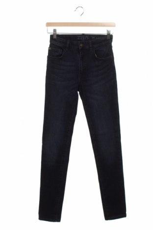 Damskie jeansy Zara, Rozmiar S, Kolor Niebieski, 72% bawełna, 27% poliester, 1% elastyna, Cena 85,50zł
