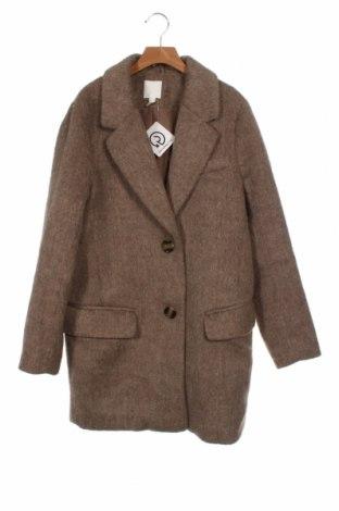 Palton de femei H&M, Mărime XS, Culoare Bej, 88% poliester, 12% lână, Preț 152,96 Lei