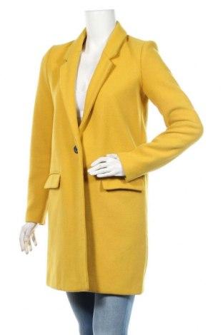 Palton de femei Zara Trafaluc, Mărime XS, Culoare Galben, 51% lână, 49% poliester, Preț 226,97 Lei