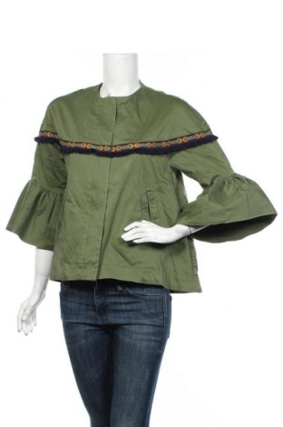Geacă de femei Zara, Mărime M, Culoare Verde, 98% bumbac, 2% elastan, Preț 89,53 Lei