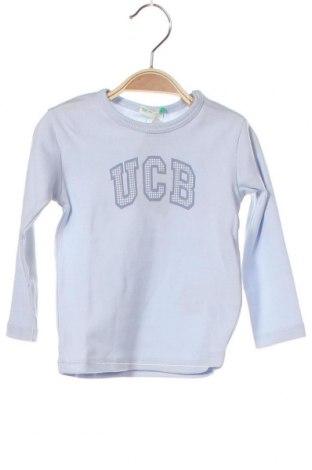 Bluză pentru copii United Colors Of Benetton, Mărime 9-12m/ 74-80 cm, Culoare Albastru, Bumbac, Preț 103,62 Lei