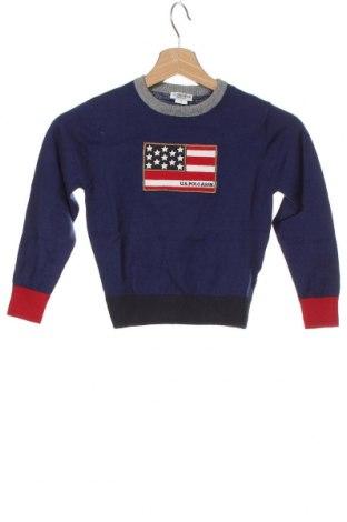 Dětský svetr  U.S. Polo Assn., Velikost 3-4y/ 104-110 cm, Barva Modrá, 90% bavlna, 10% kašmír , Cena  1238,00Kč
