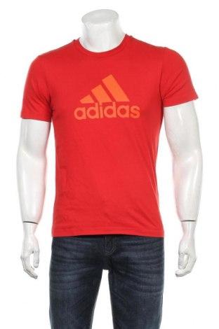 Мъжка тениска Adidas, Размер S, Цвят Червен, 70% памук, 30% полиестер, Цена 21,00лв.