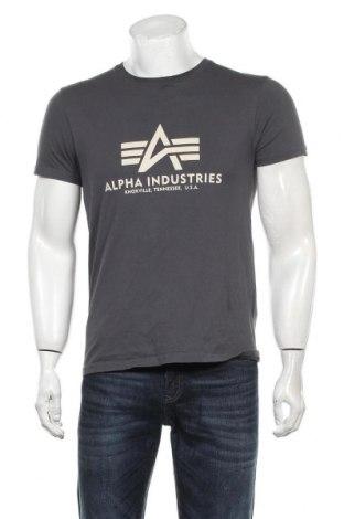Мъжка тениска Alpha Industries, Размер M, Цвят Сив, Памук, Цена 28,50лв.