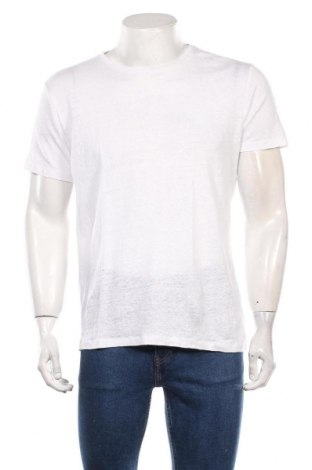 Мъжка тениска Mango, Размер M, Цвят Бял, Лен, Цена 21,00лв.