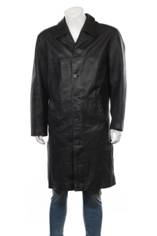 Мъжко кожено палто Angelo Litrico, Размер L, Цвят Черен, Естествена кожа, Цена 108,73лв.