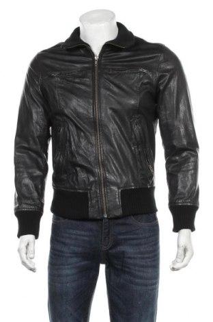 Ανδρικό δερμάτινο μπουφάν Jack & Jones, Μέγεθος S, Χρώμα Μαύρο, Γνήσιο δέρμα, Τιμή 79,79€