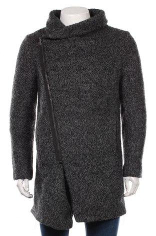 Мъжко палто H&M Divided, Размер M, Цвят Сив, 52% вълна, 48% полиестер, Цена 71,40лв.
