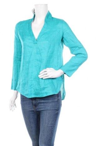 Дамска блуза Massimo Dutti, Размер M, Цвят Син, Лен, Цена 32,24лв.