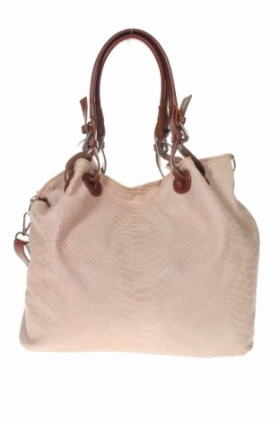 Дамска чанта, Цвят Бежов, Естествена кожа, Цена 58,31лв.