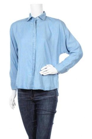Дамска риза Massimo Dutti, Размер S, Цвят Син, Лиосел, Цена 37,44лв.