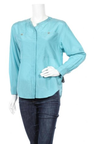 Дамска риза Massimo Dutti, Размер S, Цвят Син, 68% памук, 32% коприна, Цена 42,64лв.