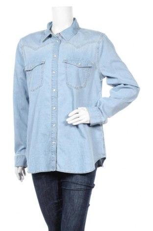 Дамска риза Massimo Dutti, Размер XL, Цвят Син, 97% памук, 3% еластан, Цена 32,24лв.