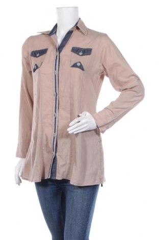 Дамска риза Queen, Размер M, Цвят Бежов, 95% памук, 5% вискоза, Цена 15,96лв.