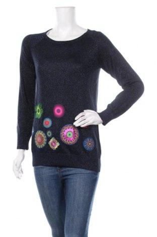 Дамски пуловер Desigual, Размер L, Цвят Син, 82% вискоза, 12% полиестер, Цена 96,75лв.
