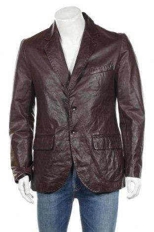 Мъжко кожено сако Zara, Размер L, Цвят Кафяв, Естествена кожа, Цена 70,31лв.