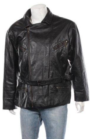 Мъжко кожено яке, Размер XXL, Цвят Черен, Естествена кожа, Цена 72,07лв.