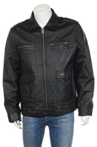 Мъжко кожено яке, Размер M, Цвят Черен, Естествена кожа, Цена 82,03лв.