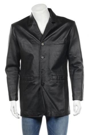 Мъжко кожено яке, Размер M, Цвят Черен, Естествена кожа, Цена 60,54лв.