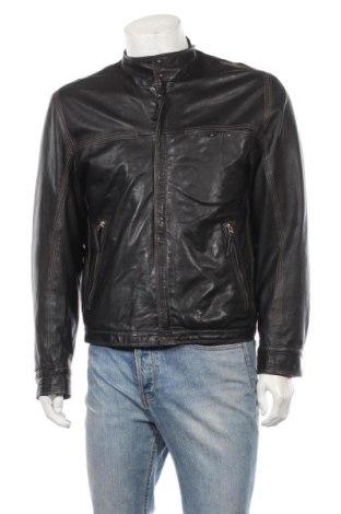 Мъжко кожено яке Alba Moda, Размер M, Цвят Черен, Естествена кожа, Цена 77,14лв.