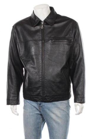 Мъжко кожено яке Roundtree & Yorke, Размер L, Цвят Черен, Естествена кожа, Цена 77,14лв.