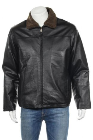 Мъжко кожено яке Vincenzo, Размер M, Цвят Черен, Естествена кожа, Цена 66,40лв.
