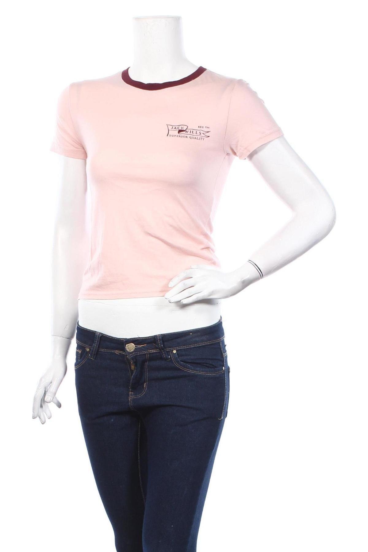 Дамска тениска Jack Wills, Размер S, Цвят Розов, 50% памук, 50% модал, Цена 22,62лв.
